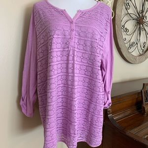 BASIC EDITIONS Size 2X Lace Front Blouse Top